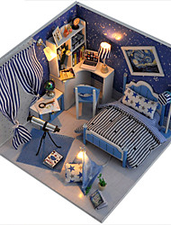 Christmas Romantic Gift Toy Manual Model DIY Wood Dollhouse Including All Furniture Lights Lamp LED