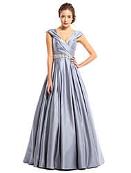 TS Couture® Prom  Formal Evening Dress A-line V-neck Floor-length Satin with Beading / Criss Cross