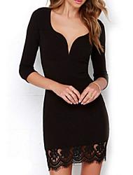 Damen Kleid - Bodycon Leger Solide Knielang Polyester V-Ausschnitt