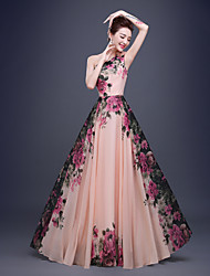 Formal Evening Dress A-line One Shoulder Floor-length Chiffon with Flower(s) / Side Draping