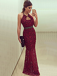 Women's Hot Sale Sexy Halter Backless Lace Party Slim Maxi Dress Plus Size