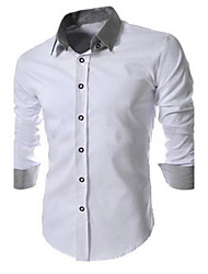 Men's Work/Formal Dress Shirt, Plus Size Contrast Collar Long Sleeve