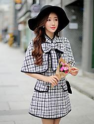 Women's Black Big Bowknot cape coat