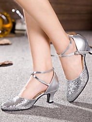 Women's Dance Shoes Latin Patent Leather / Paillette Chunky Heel Silver / Gold
