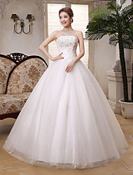 Ball Gown Wedding Dress Floor-length Strapless Lace / Satin / Tulle with Crystal / Sequin