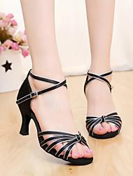 SUN LISA Customizable Women's Dance Shoes Latin / Salsa Satin Customized Heel Black / Brown / Gold / Leopard / Other