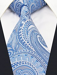 Men's Tie  Blue Paisley 100% Silk  Casual  Dress