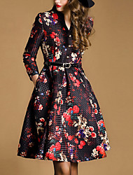 Women's Print / Jacquard Multi-color Dress , Vintage / Print/Plus Sizes V Neck ¾ Sleeve