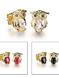 Owl Vacuum Plating Fastness 18 K Gold Women Stud Earrings