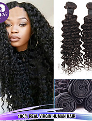 "3pcs/Lot 8""-30"" Mix Size Color #1B Malaysian Curly Wave Virgin Human Hair Extensions Bundles Thick & Soft"