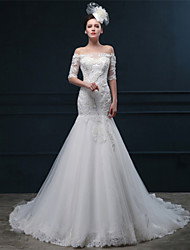 Trumpet/Mermaid Wedding Dress - Ivory Court Train Off-the-shoulder Tulle