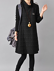 Women's Polka Dot / Solid Red / Black / Gray Loose Thin Dress , Casual / Plus Sizes Turtleneck Long Sleeve