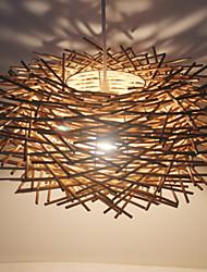 30CM Modern Rural Cany Art Woven Rattan Restaurant Single Head Droplight Lamp LED