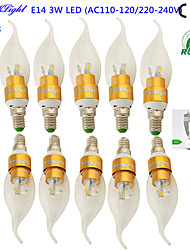 YouOKLight® 10PCS E14 3W 200-250lm 6xSMD5730 Warm White LED Pointed tail shape Candle Lamp-Gold(AC110-120V/220-240V)