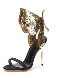 Women's Summer Leather Wedding Dress Party & Evening Stiletto Heel Silver Gold