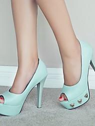Women's Shoes Leatherette Stiletto Heel Heels / Peep Toe Sandals Party & Evening / Dress  / Purple / White