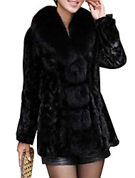 Fur Coat Women's Fashion Long Sleeve PU&Fur Slim Fur Coat