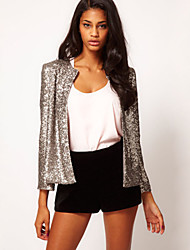 Women's Solid Blue / Red / Black / Yellow / Silver Blazer Round Neck Long Sleeve