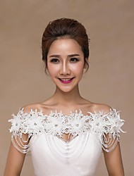 Wedding  Wraps Collars Sleeveless Lace Ivory Wedding Appliques Lace Pearls
