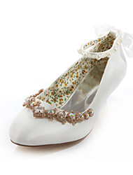 Women's Spring / Summer / Fall Heels / Round Toe Silk Wedding / Dress / Party & Evening Low Heel Crystal Ivory