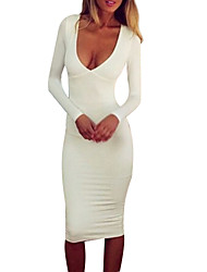 Women's Deep V Backless Dress, Cotton Above Knee Long Sleeve