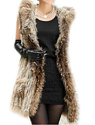 Women Rabbit Fur/Raccoon Fur Top , Hoodie/Without Lining
