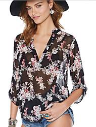 Damen Blumen Einfach Lässig/Alltäglich T-shirt,Tiefes V Herbst ¾-Arm Schwarz Acryl Dünn