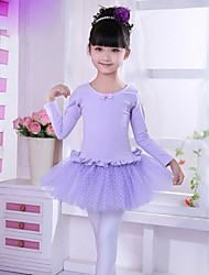 Ballet Dresses Children's Performance Cotton / Tulle Cascading Ruffle / Polka Dots 1 Piece Pink / Purple