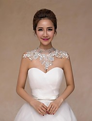 Wedding  Wraps Collars Sleeveless Lace Ivory Wedding Crystal Pearls