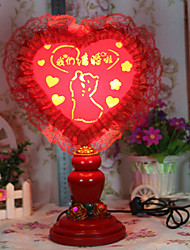 Valentine'S Day Heart-Shaped Red Cloth Creative Marriage Home Furnishing Articles Practical Desk Lamp Led Light