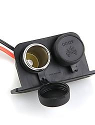 2 vías de cigarrillos moto 12v moto impermeable enchufe adaptador para encendedor