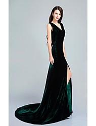 Fiesta formal Vestido - Verde Oscuro Trompeta/Sirena Larga - Cuello en V Terciopelo