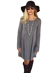 Women's Striped Gray Dress , Casual Round Neck Long Sleeve