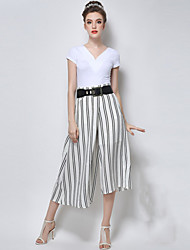 Women's Vertical Striped White / Black Wide Leg Pants , Casual / Plus Sizes Asymmetric High Rise Fashion Chiffon