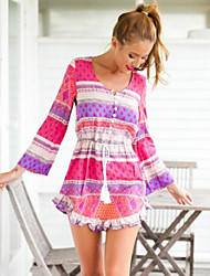 Women's New Vintage Print Sexy Party Elegant Vestidos Women Long Sleeve Beach Casual Dress
