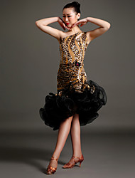 High-quality Velvet with Print Latin Dance Dresses for Women's Performance(More Colors)
