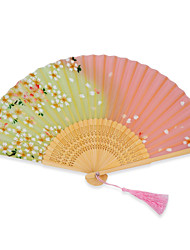 High quality Japanese silk folding hand fans - 1 Piece/Set Hand Fans Floral Theme Pink / Green