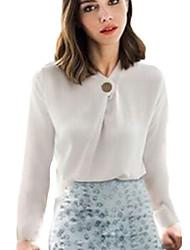 De las mujeres Camisa - Botón Escote Chino - Algodón - Manga Larga
