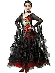 Robes(Zébré / Rayures de tigre,Elasthanne / Crêpe,Danse moderne)Danse moderne- pourFemme Cristaux/Stras Spectacle Danse de Salon