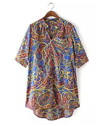 V-hals - Katoen / Polyester - Bloem - Vrouwen - T-shirt - Halflange mouw