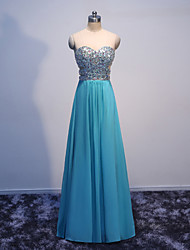 Formal Evening Dress A-line Sweetheart Floor-length Chiffon with Beading / Crystal Detailing / Sequins