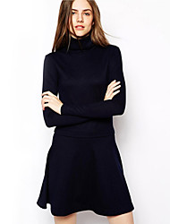 Women's Casual / Day / Simple Solid A Line Dress , Turtleneck Mini Cotton