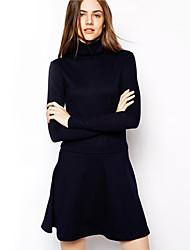 Damen Kleid - A-Linie Leger / Einfach Solide Mini Baumwolle Rollkragen