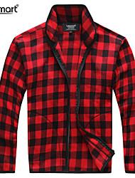 Lesmart Hombre Escote Chino Manga Larga Sudadera con capucha y de la camiseta Blanco / Rojo - MDME1208