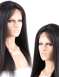 "Unprocessed 10""-26"" Peruvian Virgin Hair Natural Color Yaki Straight Full Lace Wig 130% Density Human Hair Wigs"