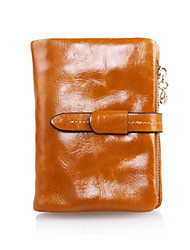 Fashion Women's Genuine Leather Wallet Short Oil Wax Wallet Purse Clutch Zipper Pocket Wallets