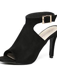 Chaussures Femme - Habillé - Noir - Talon Aiguille - Talons / Bout Ouvert - Sandales - Laine synthétique