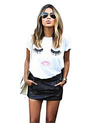 Women's Sexy Short Sleeve Print Plus Size Loose T-shirt