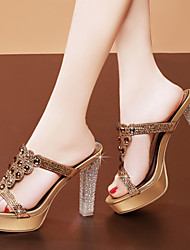 Women's Shoes Leather / Glitter Chunky Heel Heels / Peep Toe Sandals Party & Evening / Dress / Casual Silver / Gold