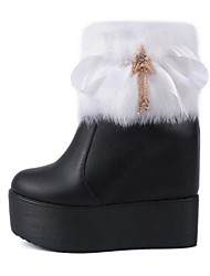 Women's Shoes Flat Heel Comfort Boots Outdoor Black / White / Black and White